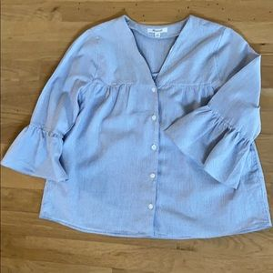 Madewell Pinstriped Top in Blue